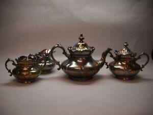 Pairpoint Silver Plated Tea Set Teapot Cream Sugar Spoon Waste Bowl