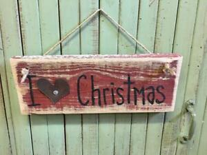 Wood Prim Sign Farmhouse Christmas Handmade Country Rustic Wall Home Decor