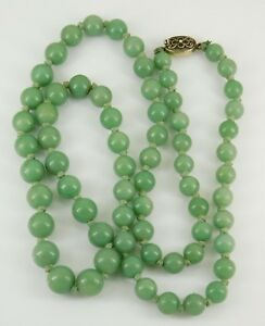 Vintage Antique Chinese Export Silver Jade Necklace 30 75 Long