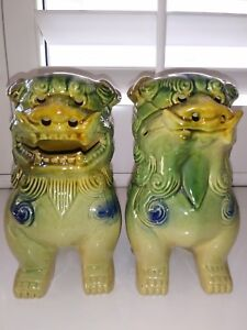 Foo Dog Pair Green Gold Blue Glazed Chinese Vintage Temple Guardians Large Size