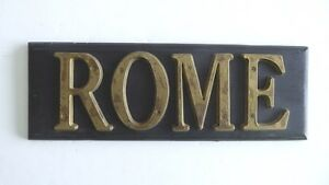 Vintage Rome 4 Copper Metal Letter Print Type Block City Sign On Wood 3 3 4