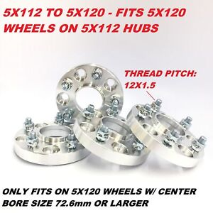 4pc 20mm Wheel Adapter Spacer 5x112 To 5x120 66 6 To 72 6 12x1 5 Studs