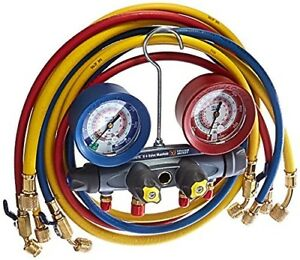 Yellow Jacket 46013 Brute Ii Test And Charging Manifold F c Red blue Gauge Psi