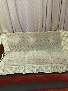 Vtg Handmade Crochet 67x53 Inches With Embroidery Curtain Bed Cover Tablecloth