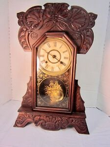 Old Clock Mechanical In Wood Case Working Has Key Still Needs Help