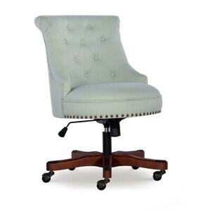Linon Sinclair Wood Upholstered Office Chair In Mint Green