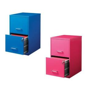 Value Pack set Of 2 Drawer File Cabinet In Blue And Pink