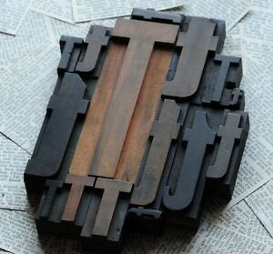Ttttt Mixed Set Of Letterpress Wood Printing Blocks Type Woodtype Wooden Printer