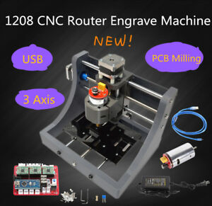 Mini 3 Axis Cnc 1208 Engraving Machine Pcb Milling Wood Carving Router Free Ship