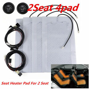 2 Seats Carbon Fiber Heated Pads Car Seat Heated Heating Kit 12v High Low Switch