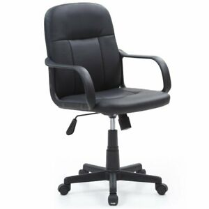 Hodedah Mid Back Adjustable Height Office Chair In Black Pu Leather