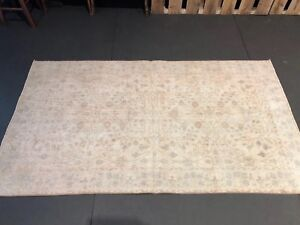 Turkish Oushak Rug 4 X7 Multicolored Floral Handmade 60 S Vintage Shabby Chic