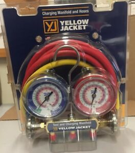 Yellow Jacket 42004 Series 41 Manifold 3 1 8 inch Gauges With Hoses R22 404a 4