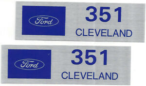 Ford 351 Cleveland Valve Cover Decals Blue On Brushed Chrome Set Of 2