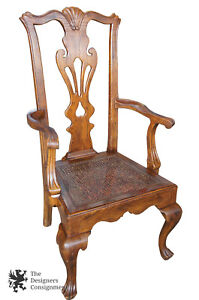 Henredon Chippendale Georgian Style Oak Dining Chair Hampton Mews Collection Arm