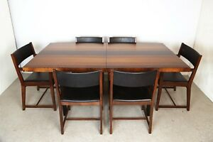 Mid Century Modern Milo Baughman Plank Dining Table For Directional Six Chairs