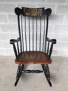 Ethan Allen Litchfeild Edition Stenciled Boston Style Rocking Chair Rocker