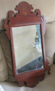 Antique Mahogany Chippendale Wall Mirror Bell Flower Inlay As Found