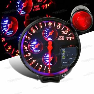 Jdm Sport 4 In 1 5 Inch 120mm 11k Rpm Tachometer Oil Water Temp Gauge White