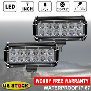 2x7inch 36w Led Light Bar Spot Beam Dual Row Driving Offroad Light For Snow Plow