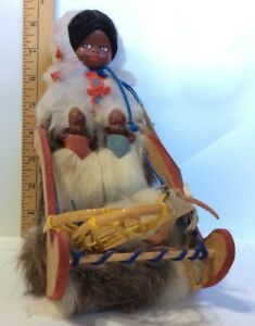 Vintage Eskimo Inuit Yupik Mama Doll W Twin Babies On Sleigh Handcrafted Tagged