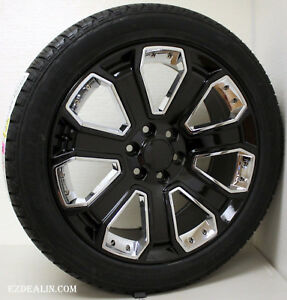 Chevrolet 22 Gloss Black Chrome Wheels Rims Tires Chevy Silverado Tahoe Z71