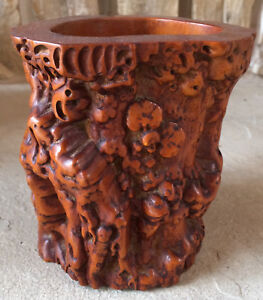 Antique Chinese Carved Burl Wood Brush Pot