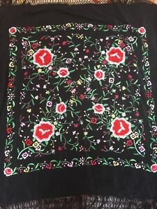 Antique Brightly Embroidered Black Silk Piano Shawl Long Knotted Fringe