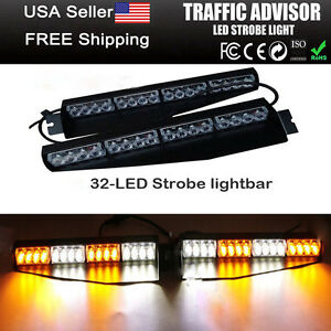 32led Emergency Warning Light Bar Strobe Visor Mount Deck Dash Kit Amber White