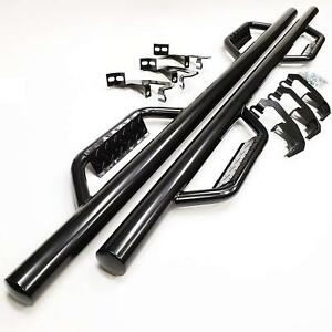For 07 18 Silverado Gmc Sierra Crew Cab Black Dropped Step Side Step Nerf Bar