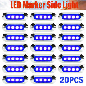 20x Waterproof Blue 4 Led Clearance Smd Side Marker Car Tow Truck Trailer Lights
