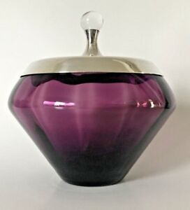 Gorham Sterling Mid Century Modern Amethyst Candy Dish Silver Lid Signed 893