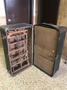 Indestructo Vintage Wardrobe Steamer Trunk Chest Drawers Hangers Luggage Antique