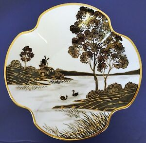 Vtg Japanese Fine Porcelain 9 25 Plate Bowl Hand Painted Sceneries