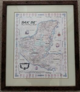 Rare Sak Be Map Of The Mayans World Professionally Framed 1999 Correo Del Arte