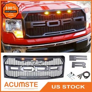 For 2009 2014 Ford F 150 F150 Matte Gray Front Grille Grill Raptor Style W Led