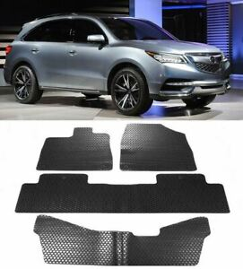 5 Pieces Black Custom Fit All Season Rubber Floor Mat Liner For 14 17 Acura Mdx
