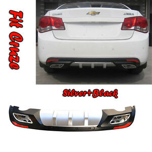 Abs Rear Bumper Dual Diffuser Spoiler Fit Chevy Cruze 2009 2014 With Reflector