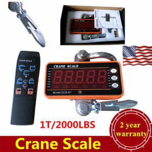 Digital Crane Scale 1t 2000lbs Heavy Duty Industrial Hanging Scale W controller
