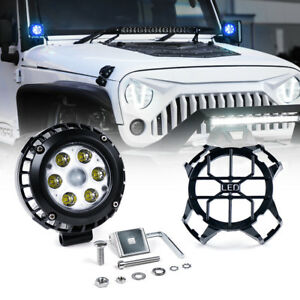 Xprite 4 21w Led Spot Light Round Work With Guard Cover For Utv Rzr Atv Jeep
