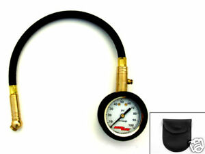 Accu Gage Tire Pressure Gauge 100 Psi Swivel Angle Chuck With Storage Bag