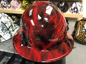 New Full Brim Hard Hat Custom Hydro Dipped Red Candy Lightning Free Shipping
