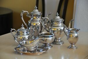 Beautiful Gorham Antique Silver Plated Coffee Teapot Set Monogram V 7 Pc