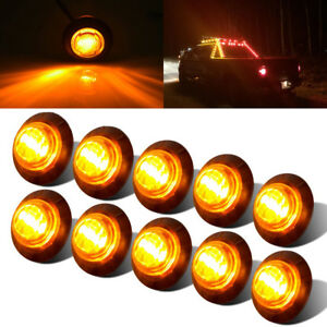 10x 3 4 Amber Yellow Small Round Side Marker Lights 3led Button Lamps Lorry 12v
