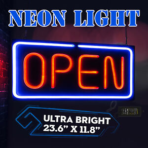 Neon Open Sign 24x12 Inch Led Light 30w Horizontal Restaurant Pubs Business