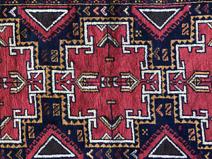4x6 Blue Hand Knotted Persian Rug Wool Foundation Red Geometric Heriz Runner 3x6