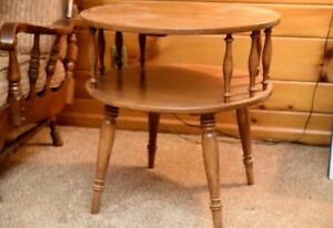 Vintage Rock Maple Round 2 Tier End Table Side Table By Meeting House