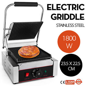 Commercial Electric Contact Press Grill Griddle 110v Flat Top Non stick 1800w