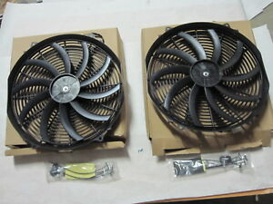 Dual 16inch Reversible Push Pull Radiator Cooling Electric Fan Universal