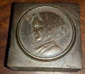 Vintage Bronze Printers Print Press Block Of Young Women In Scarf
